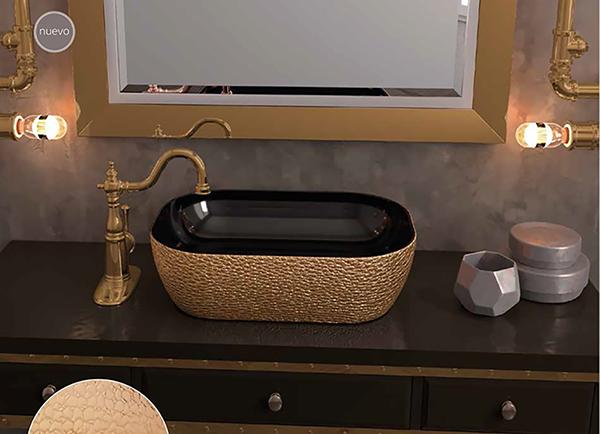 Lavabo decorativo oro y negro